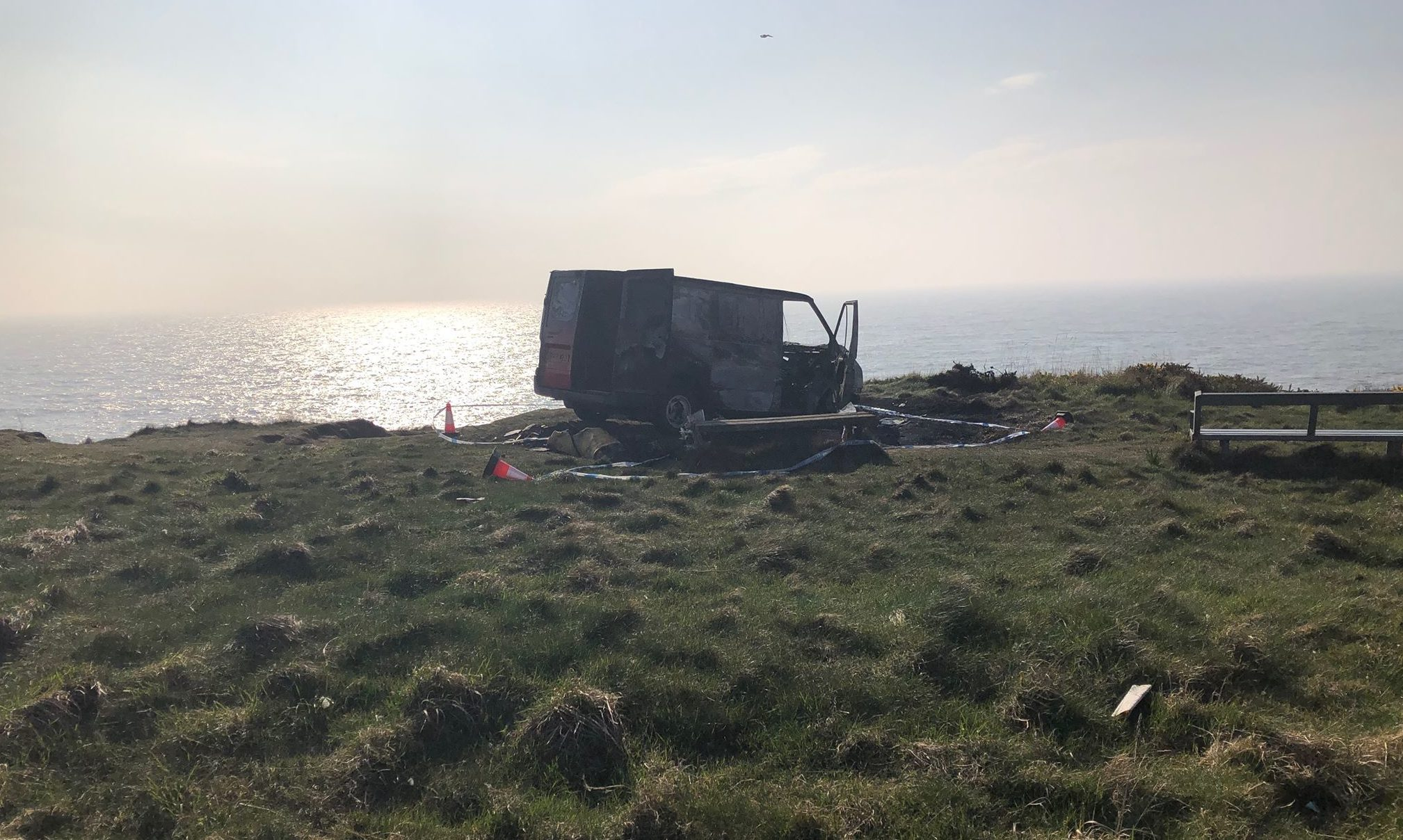 The burnt out van in Arbroath.