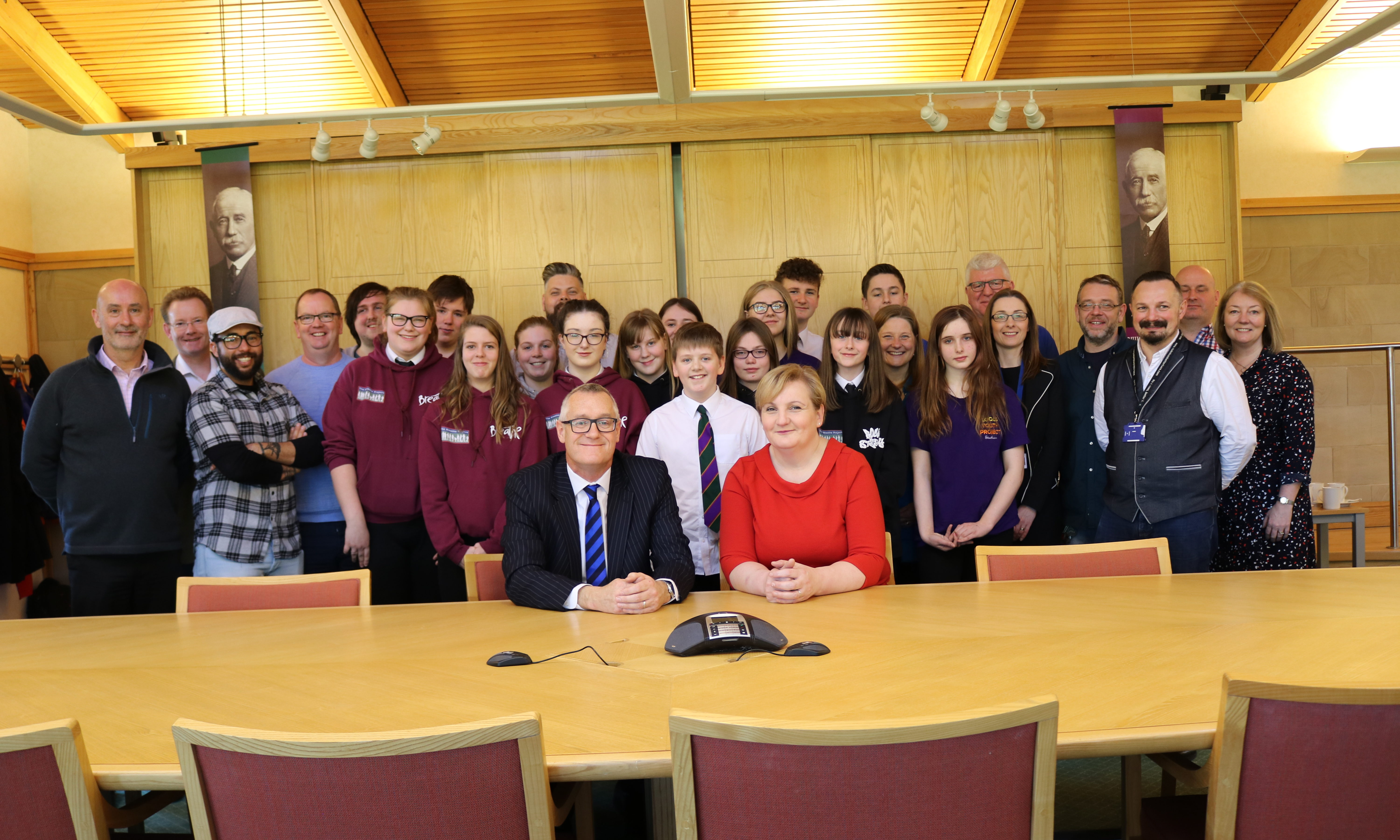 Councillor Caroline Shiers, Perth & Kinross Council's Lifelong Learning Convener with Bruce Renfrew, Trustee, Gannochy Trust youth workers and young people.