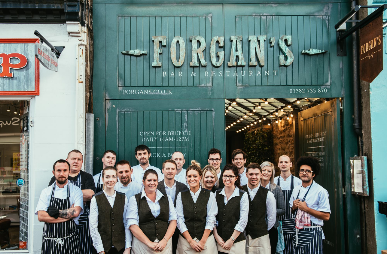 Staff at the opening of Forgan's, in Broughty Ferry
