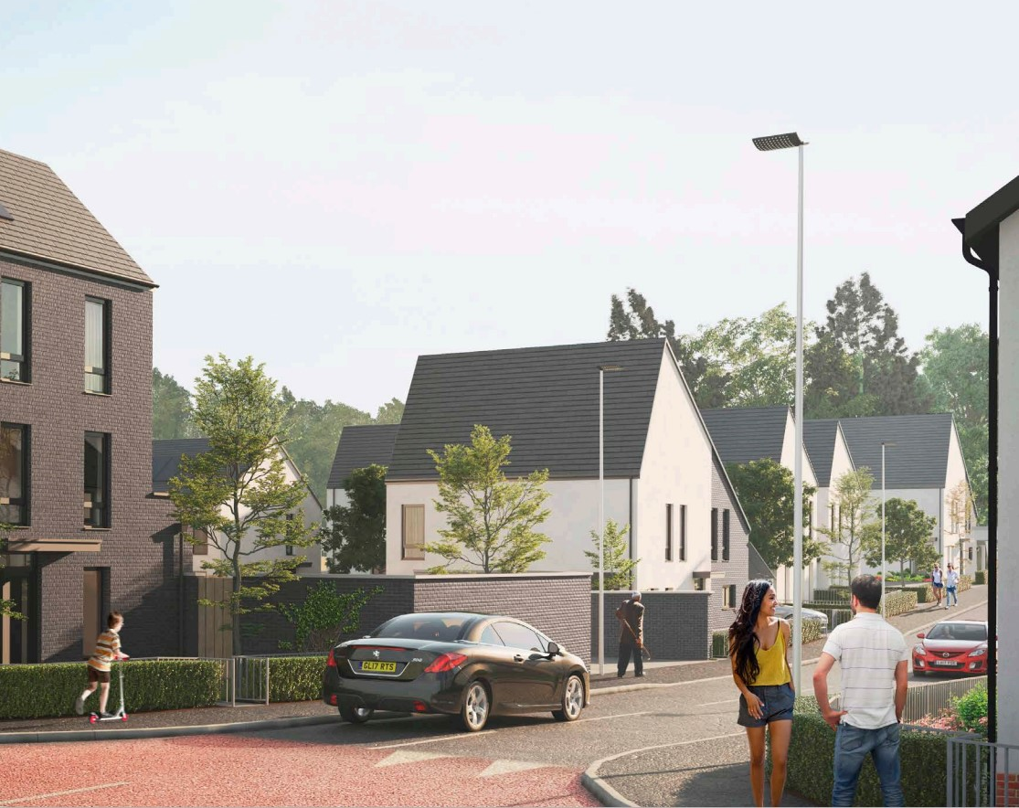 An artists impression of how the completed development will look.