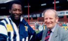 Football stalwart George Hill met footballing legend Pele at Dens Park.