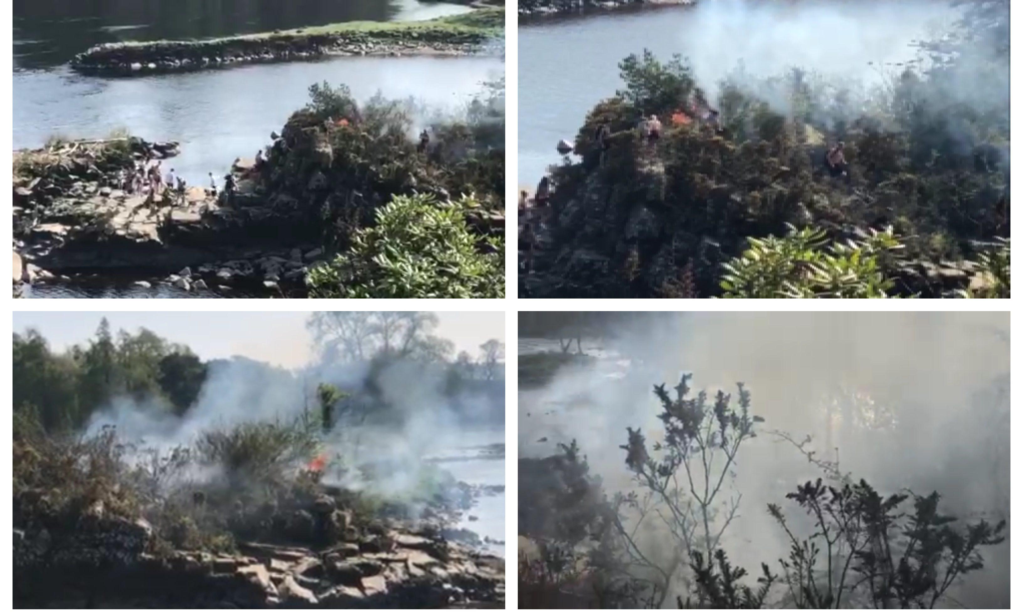 The island blaze near Stanley.