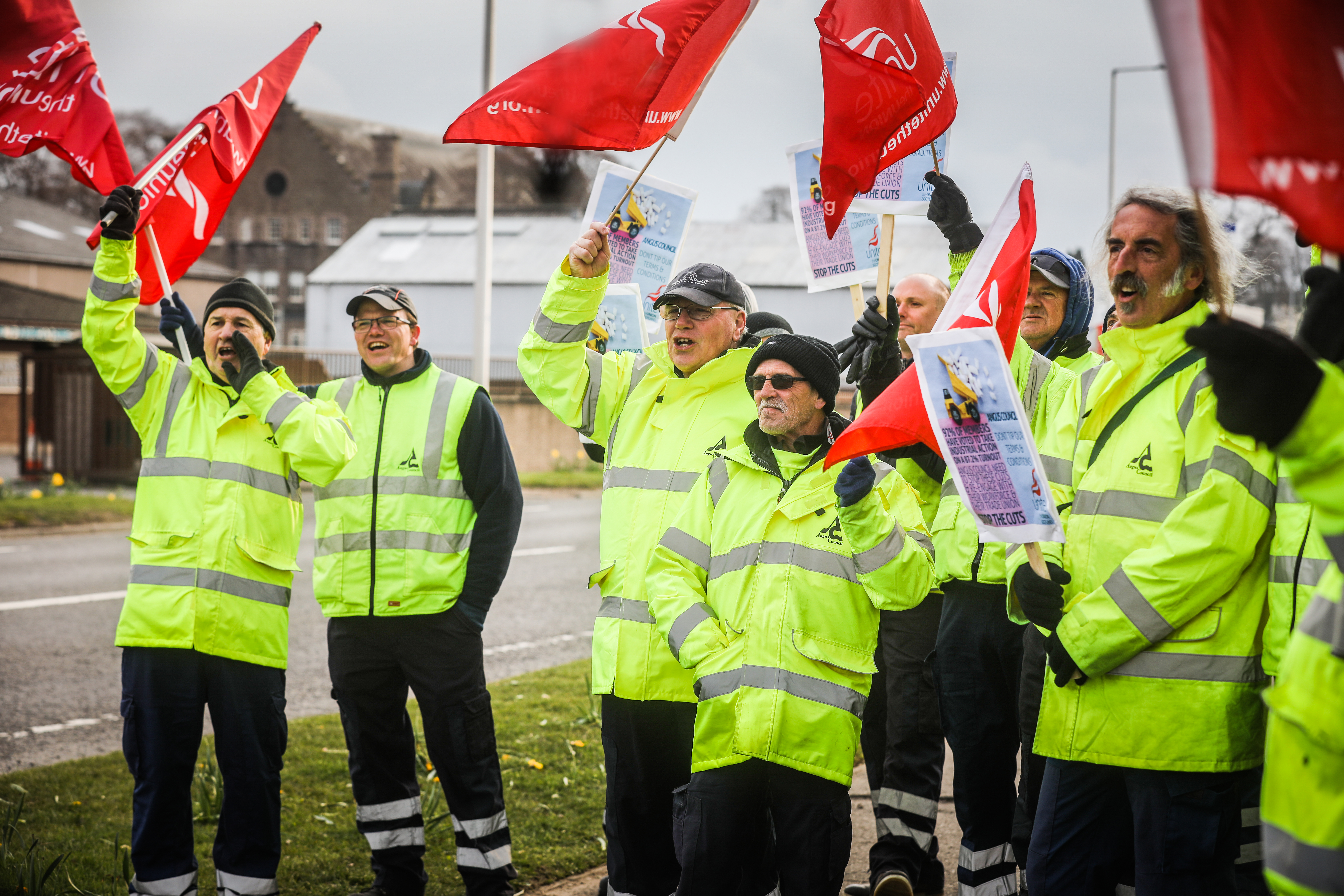 Bin workers involved in the Angus strike action.