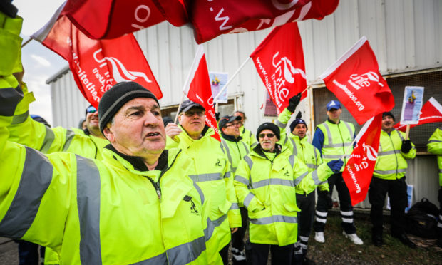 A picket line outside the recycling centre in Forfar during the bin strike.