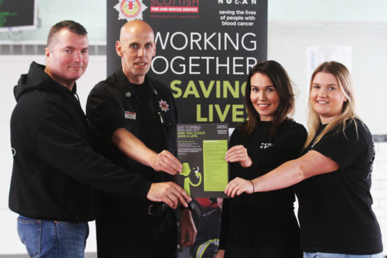 Ally Boyle, a retired fire fighter and volunteer with the Anthony Nolan Patnership, Gary Dall, Nicola Dall, 25, and Hannah Dall, 20, Gary's daughters who donated.