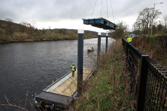 The pontoons were reinstalled on Thursday ahead of river trips starting on the Tay next month.