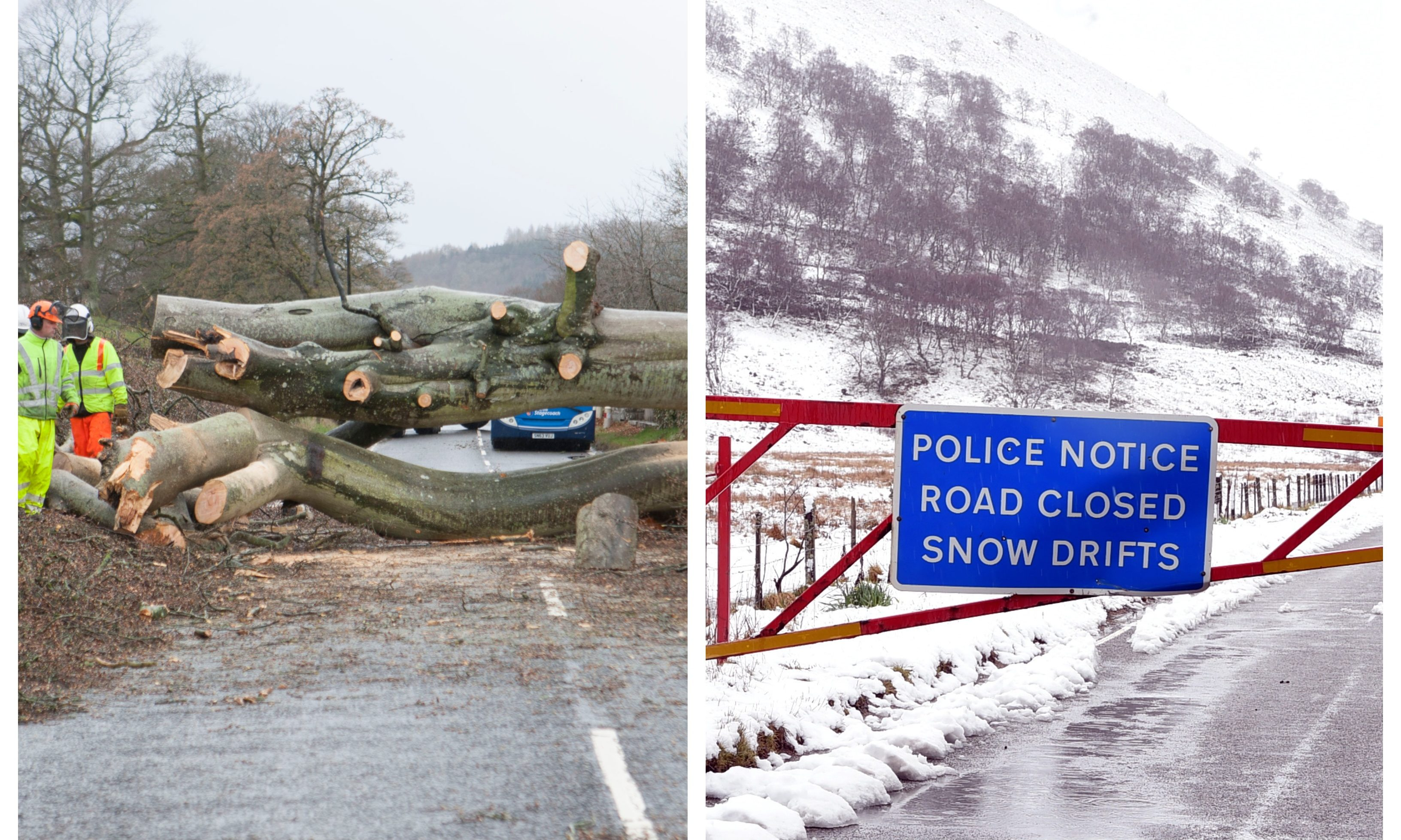 The A85 was blocked by a fallen tree, while the snow gates were also shut at Glenshee.