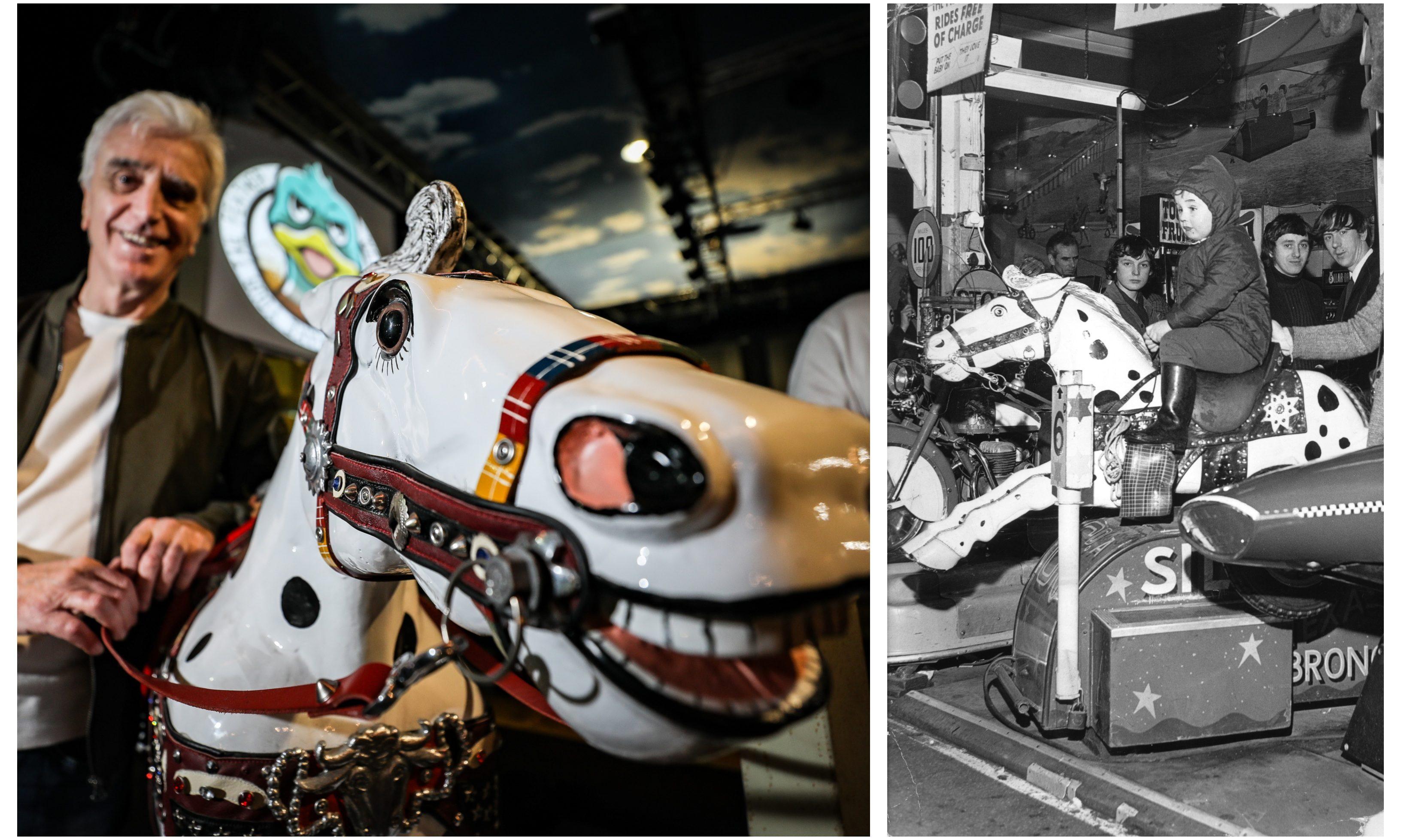 Tony Cochrane with Champion. Right: Champion the Wonder Horse at the City Arcades.