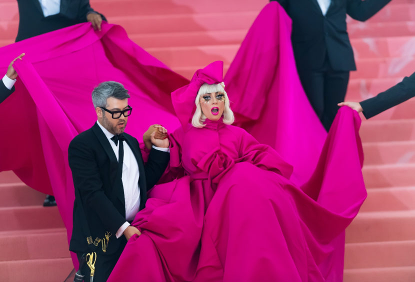 Fashion designer Brandon Maxwell and singer, songwriter and actress Lady Gaga are seen arriving to the 2019 Met Gala Celebrating Camp.