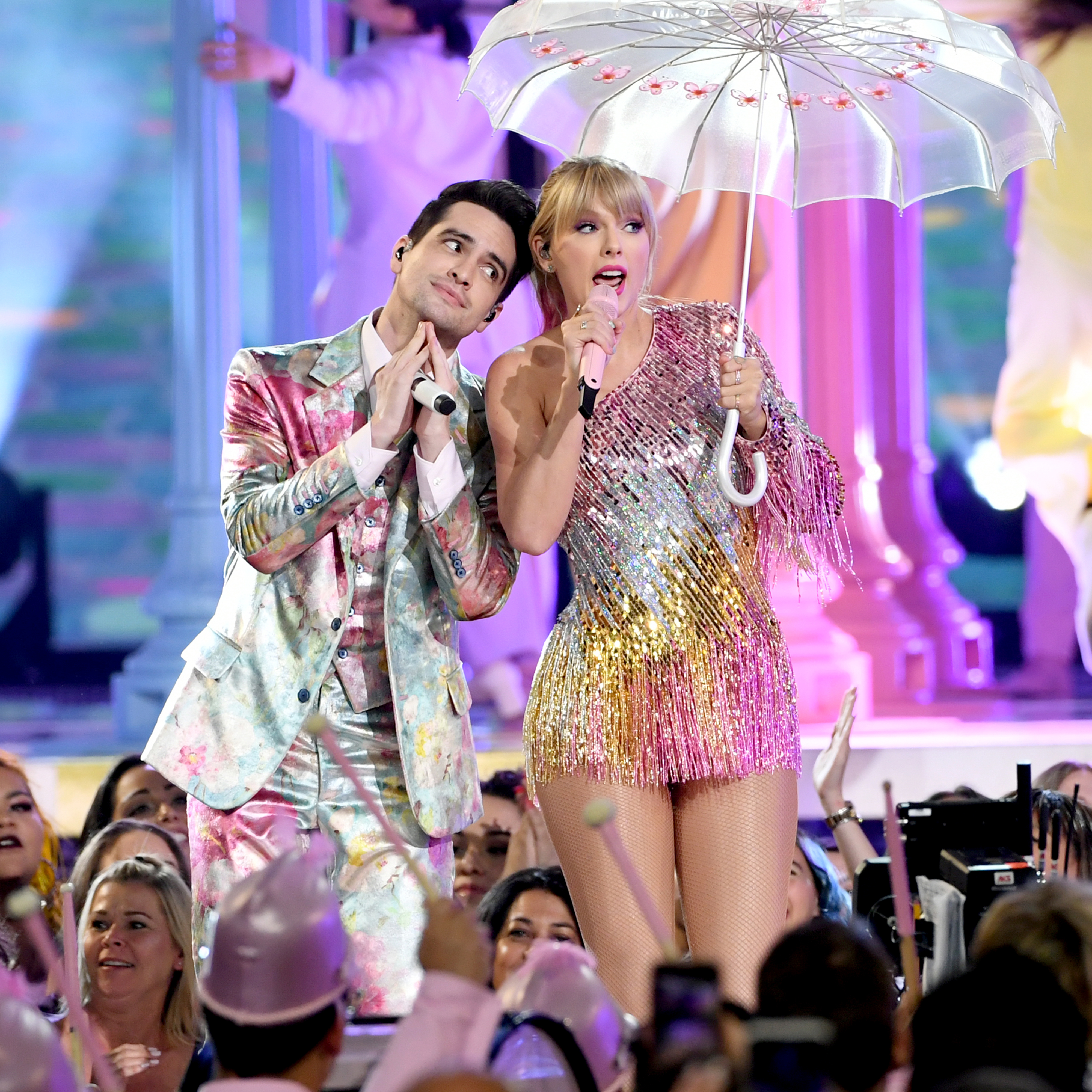 Brendon Urie of Panic! at the Disco and Taylor Swift perform onstage during the 2019 Billboard Music Awards at MGM Grand Garden Arena.