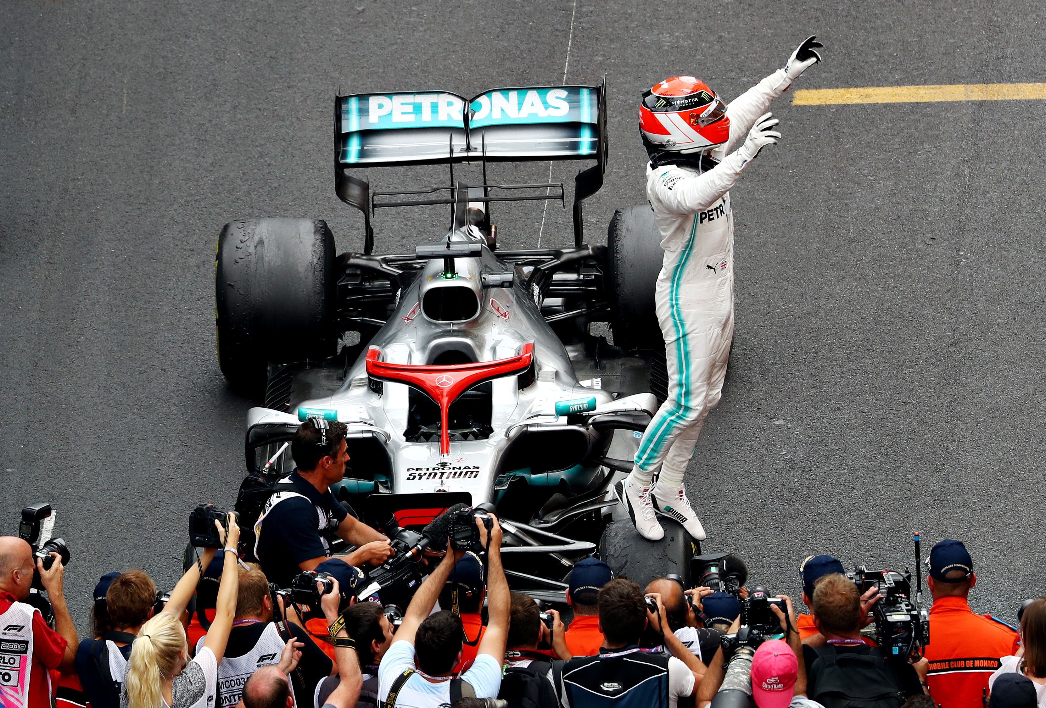 Race winner Lewis Hamilton of Great Britain and Mercedes GP celebrates in parc ferme during the F1 Grand Prix of Monaco at Circuit de Monaco.