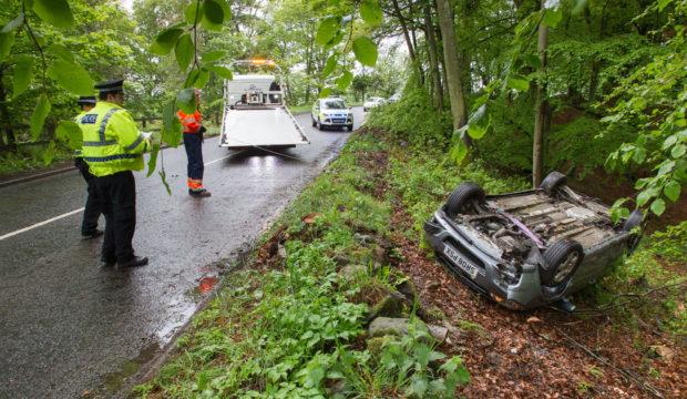 The crash on the A933 Friockheim to Forfar road.
