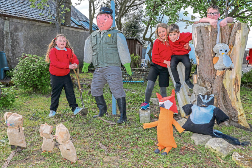 Elie Primary School with their late entry of Percy The Park Keeper. From left: Leah Horseburgh (7), Jessica Bodger (10), Harris MacIlroy (6), Corey Gearon (11).
