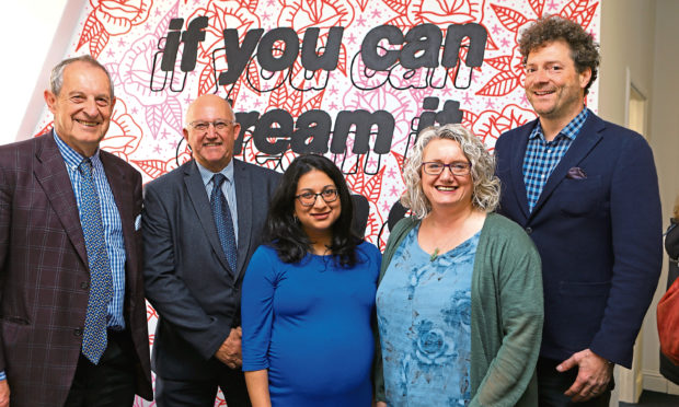 L/R, Philip Howard - Chairman of the Launch It trust, David Dorward - Chairman of Launch It Dundee, Shabana Basheer - Enterprise Manager at Launch It, Alison Henderson - CEO of Dundee & Angus Chamber of Commerce, and Chris van der Kuyl - 4J Studios, at the opening of Launch It, at Kandahar House.