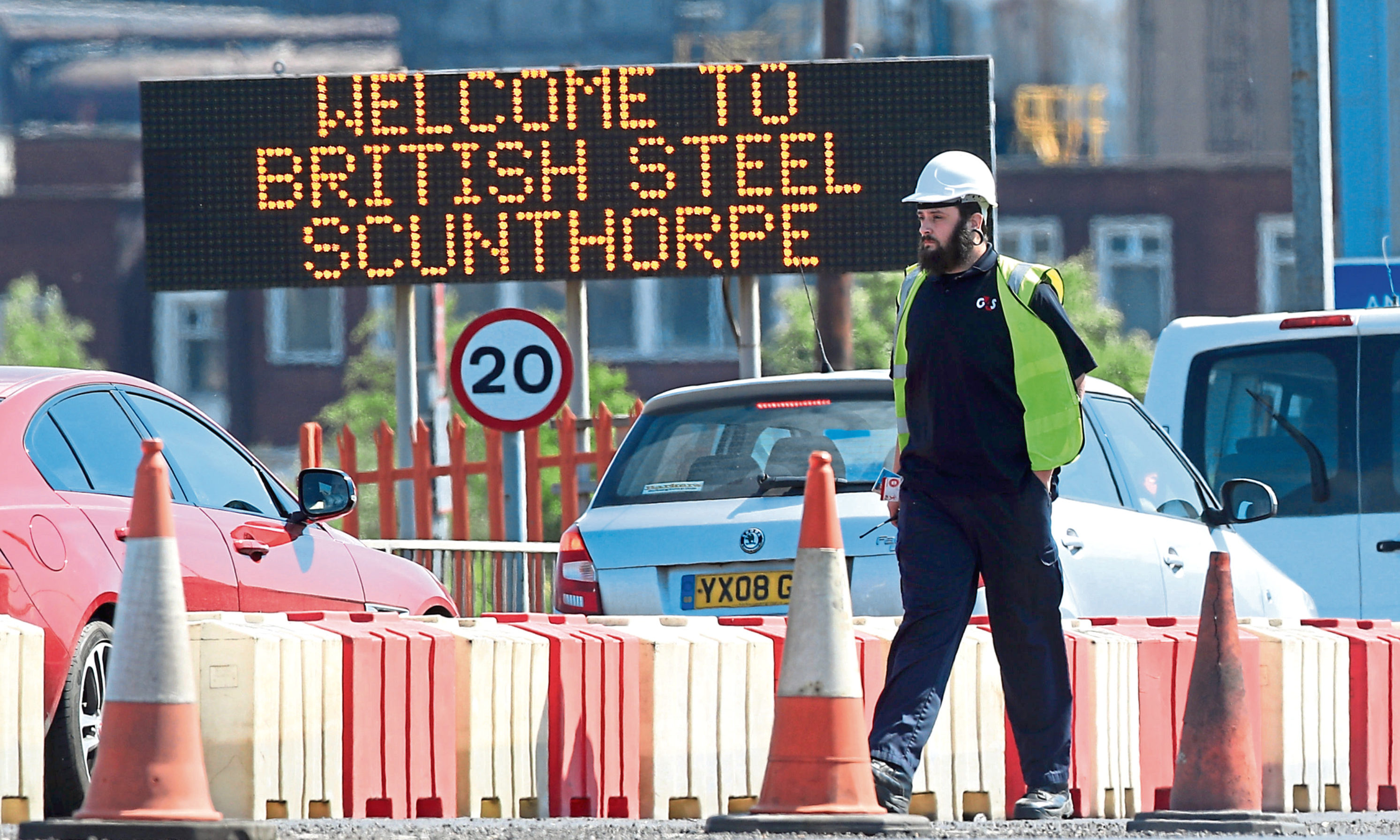 The entrance to the steelworks plant in Scunthorpe as British Steel is to go into official receivership after failing to secure funds for its future, sources said.