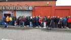 Fans queuing outside Dundee United's ticket office on Tuesday morning