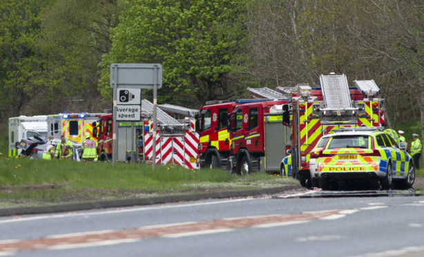 Sunday's crash scene on the A9 between Ballinluig and Dunkeld.