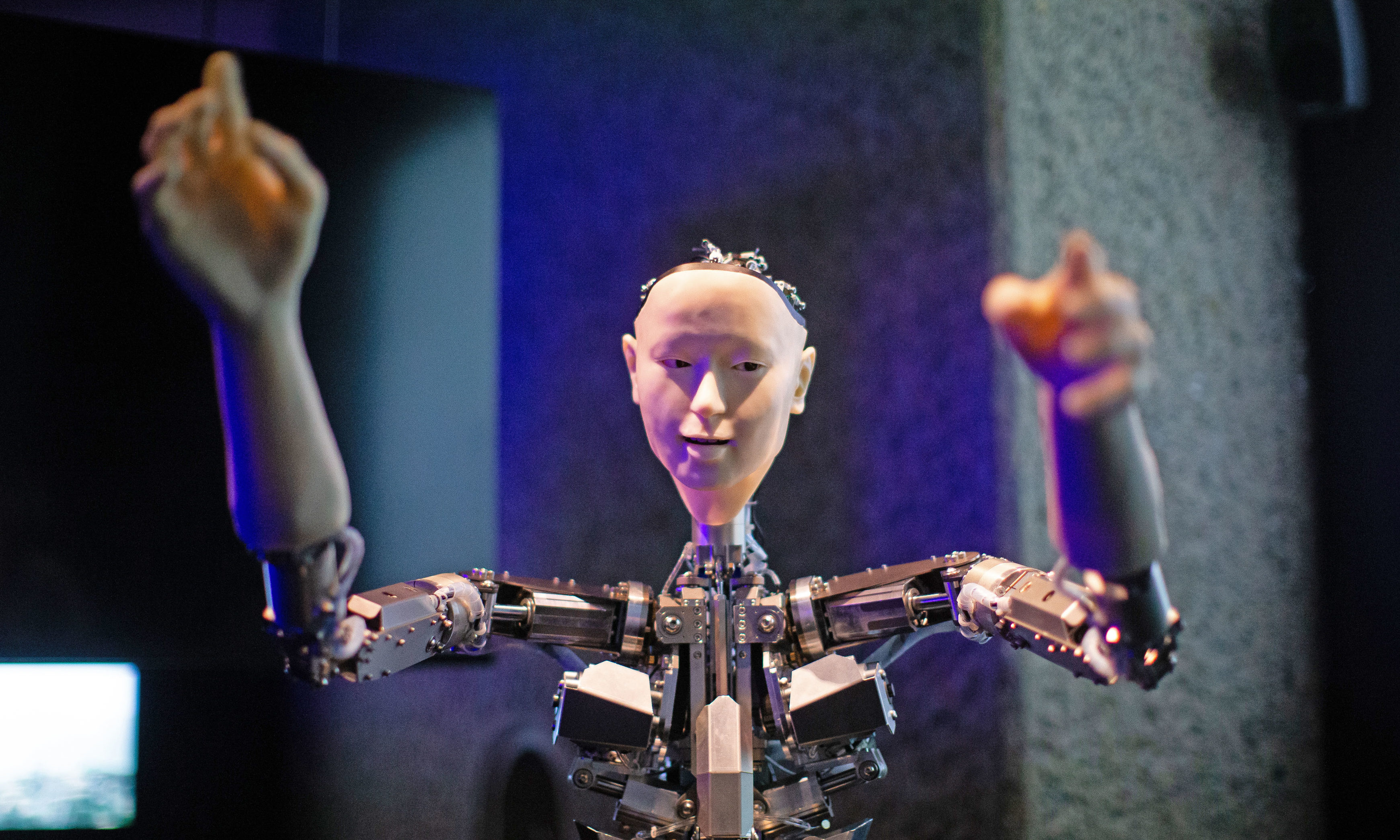 Roboticist Hiroshi Ishiguro's 'Alter', a machine body with a human like face and hands who learns through interplaying, on display.