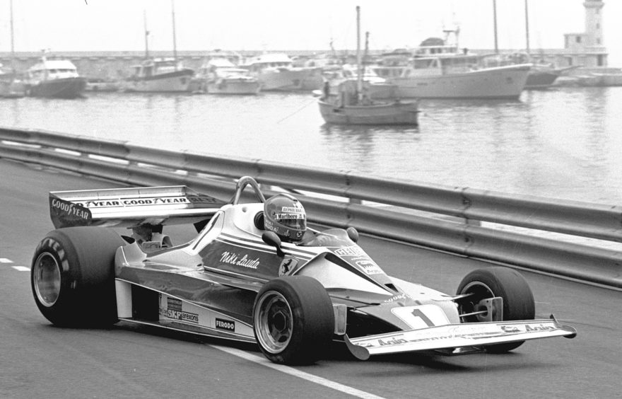 Niki Lauda testing in the 1976 Monaco Grand Prix