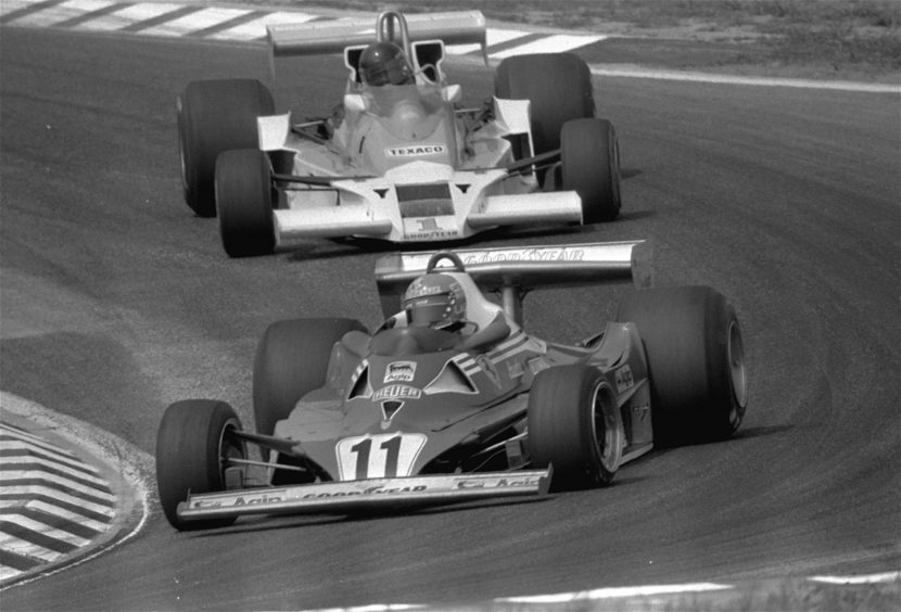 1977 file photo, Austrian racing driver Niki Lauda in his Ferrari leads James Hunt from Great Britain in his McLaren during the Formula One West German Grand Prix auto race at the Hockenheim circuit in Hockenheim, West Germany.