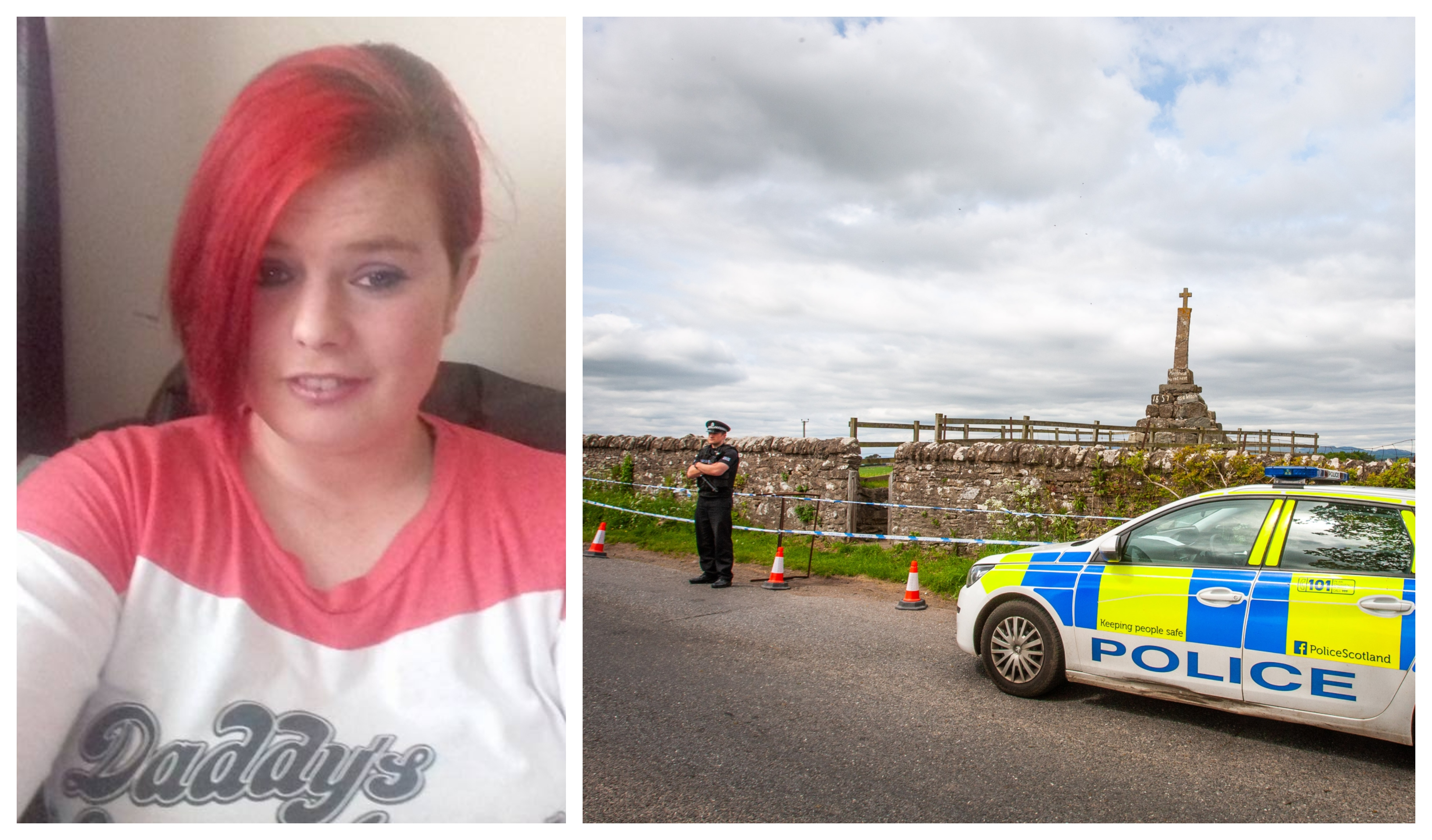 Annalise Johnstone, left, and police search alongside Maggie Wall Memorial, right.