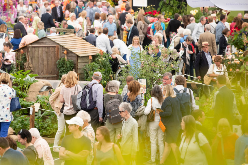 Visitors peruse stands as the doors open to the public at the RHS Chelsea Flower Show at the Royal Hospital Chelsea, London.