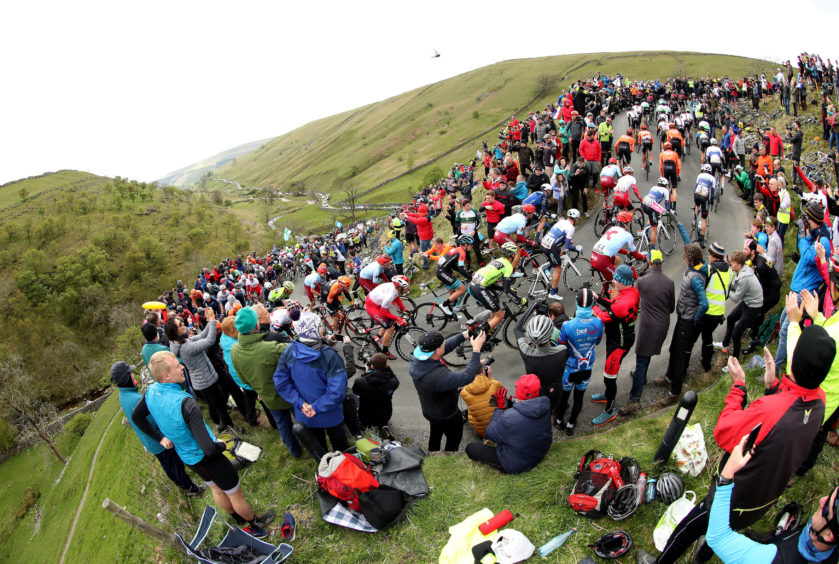 A general view as riders make their way up Park Rash in the Yorkshire Dales during stage four of the Tour de Yorkshire.