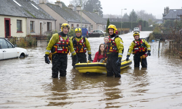 Flooding in the village of Comrie, Perthshire, in November 2012