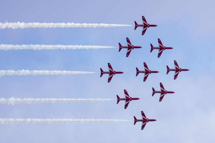One of the world's premier aerobatic teams, the Red Arrows had completed nearly 5,000 displays, in 57 countries, by the beginning of 2019. Flying Hawk T1 jets, the team is based at RAF Scampton in Lincolnshire.