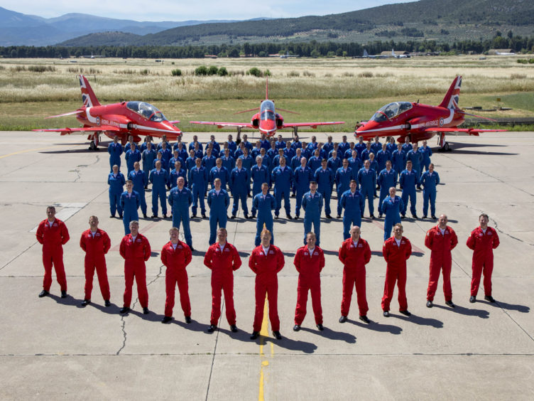 Royal Air Force Aerobatic Team, The Red Arrows in Chalkoutsi, Greece.