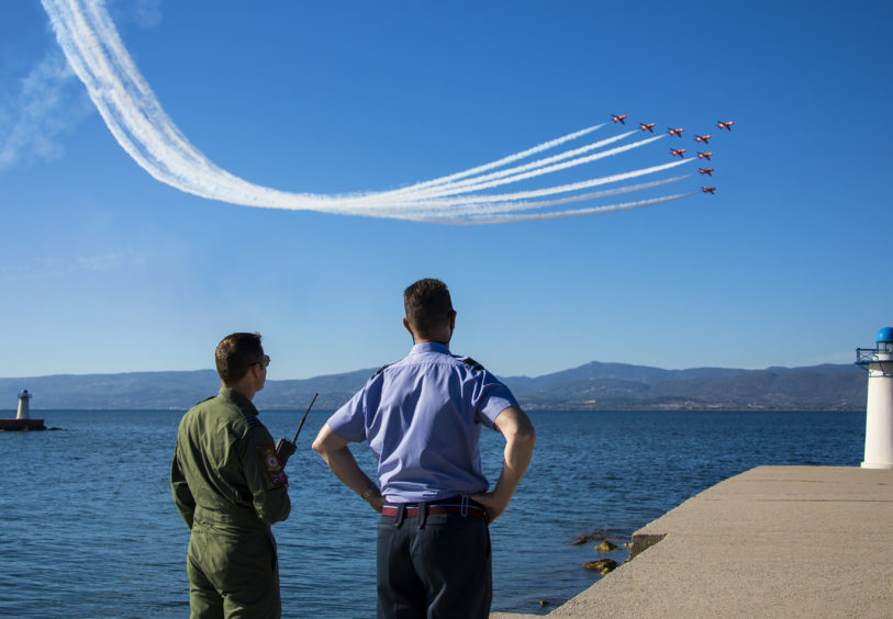 The team consists of 11 pilots, nine of whom fly in the display, and more than 100 support personnel and technicians