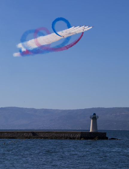 The Red Arrows doing the tornado manouveure while performing a full display at Chalkoutsi, Greece.