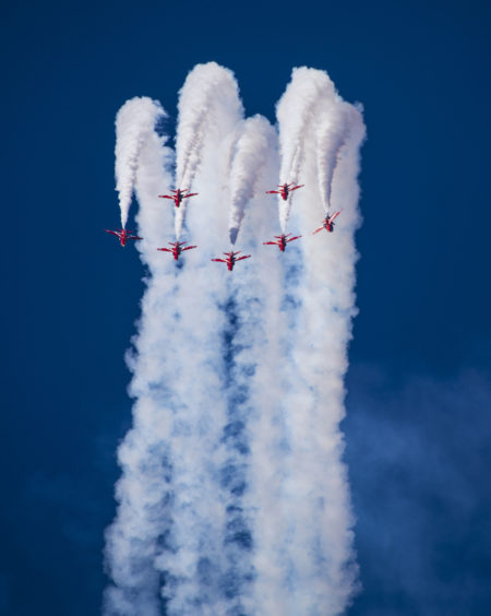 The Red Arrows in the diamond nine formation while performing a full display at Chalkoutsi, Greece.