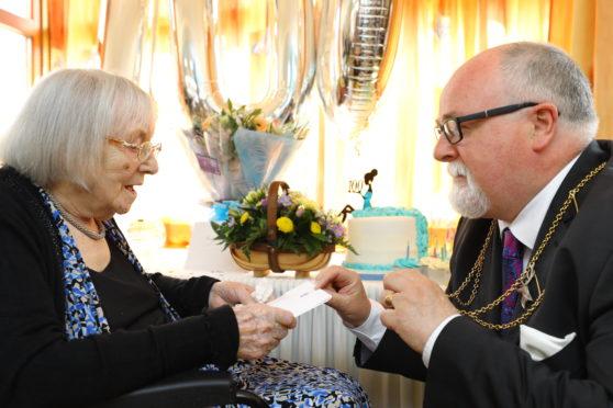Ella Low celebrating her 100th birthday