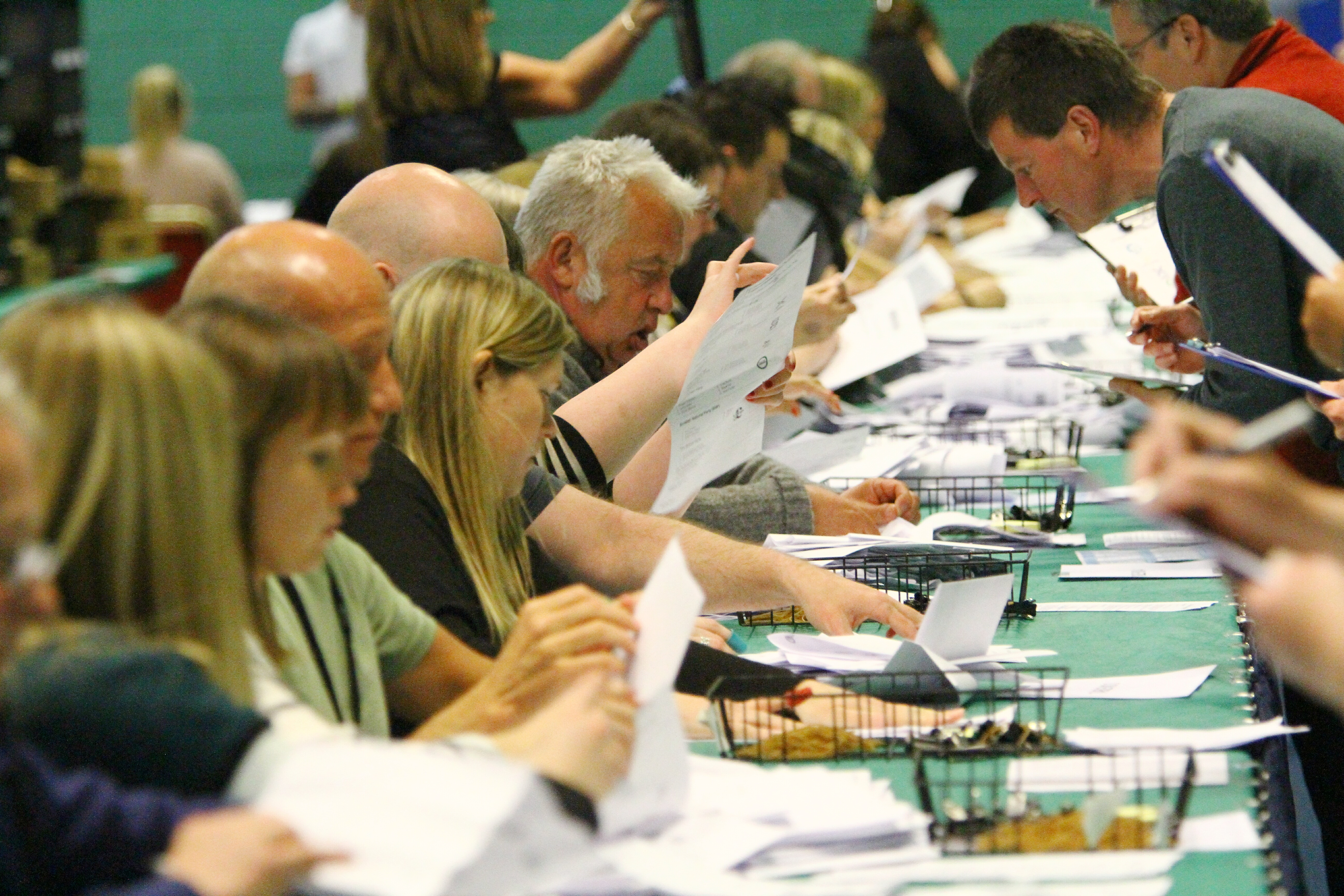 The European Election count underway at Fintry Primary School.