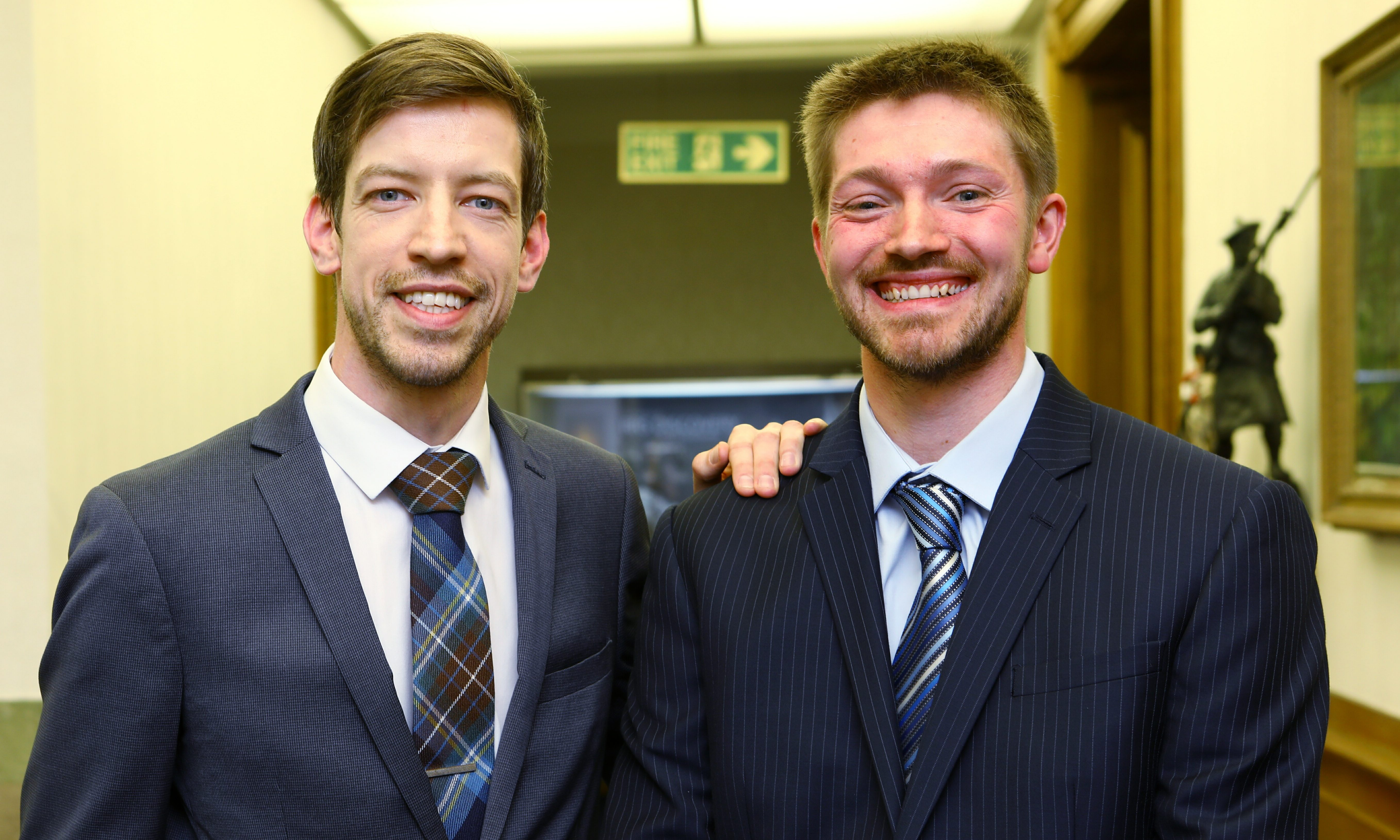Steven Rome (right) with council leader John Alexander after his election victory.