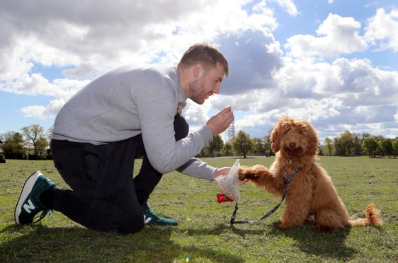 The dog training class at Stobfest was very popular with Mike Dunn and his dog Woody.
