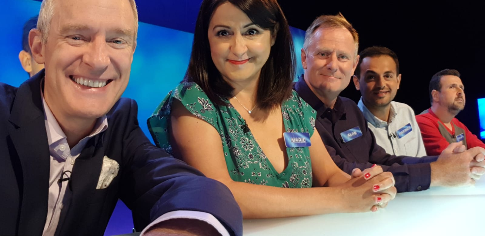 The team with host Jeremy Vine, left.