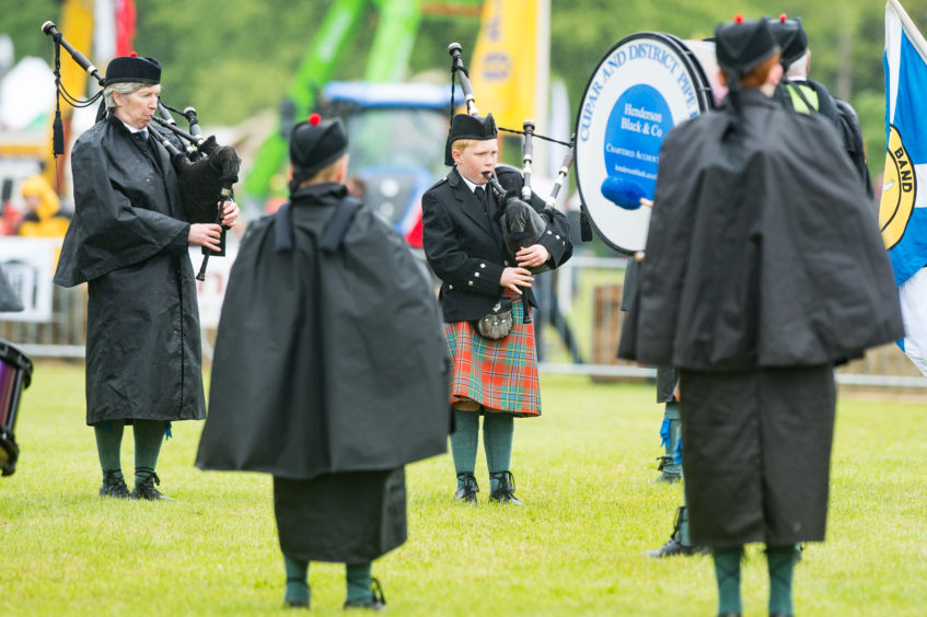 Cupar and District Pipe Band playing in the main arena