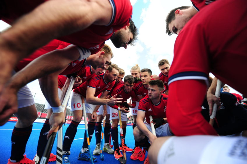 A general view of team Great Britain before the FIH Pro League match at the Lee Valley Hockey and Tennis Centre, London.
