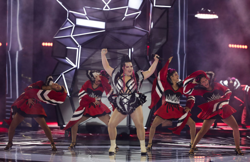Former Eurovision winner Netta Barzilai performing before the 2019 Eurovision Song Contest semi-final.