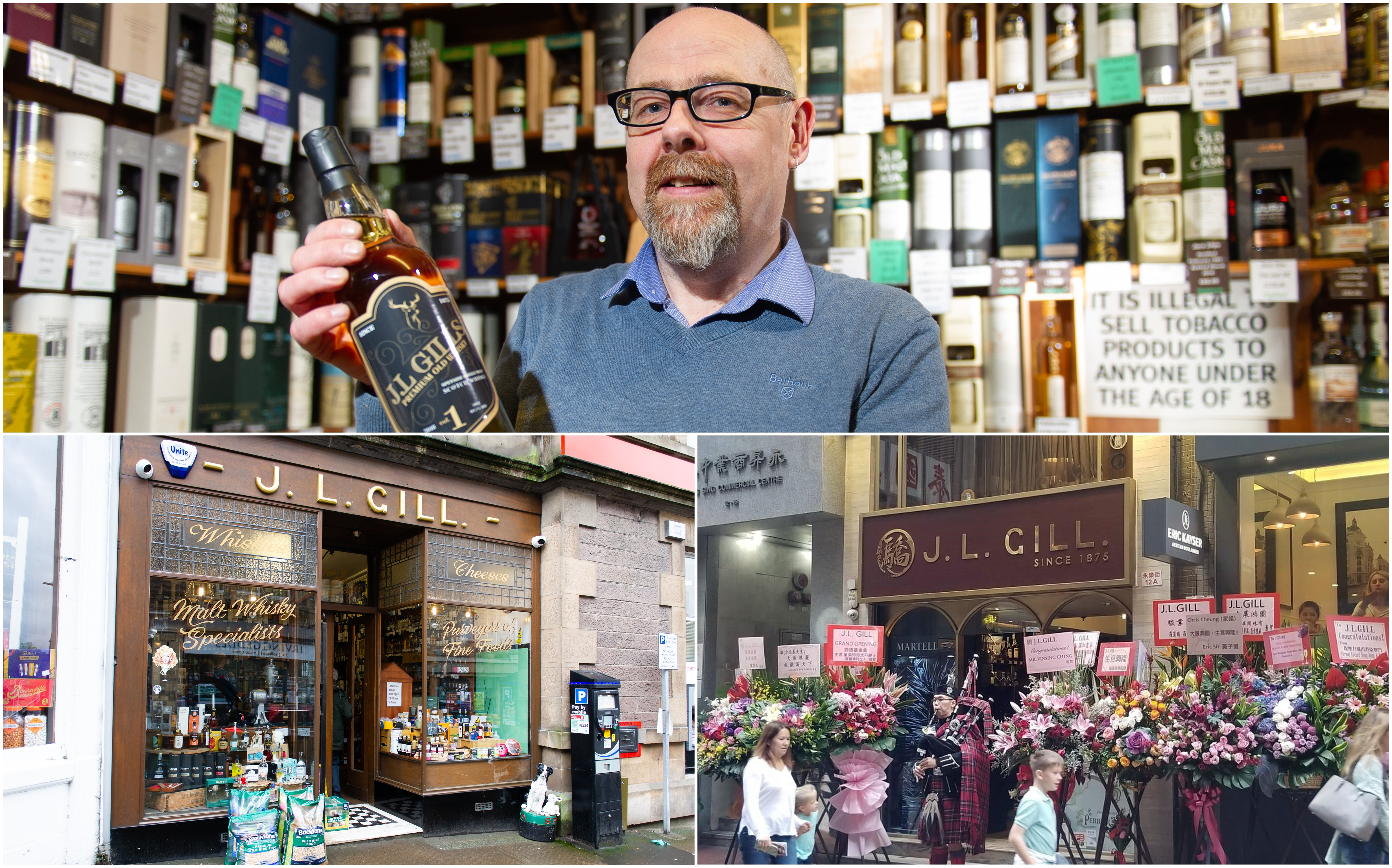 Andrew Cuthbert and (below) the JL Gill stores in Crieff and Hong Kong.