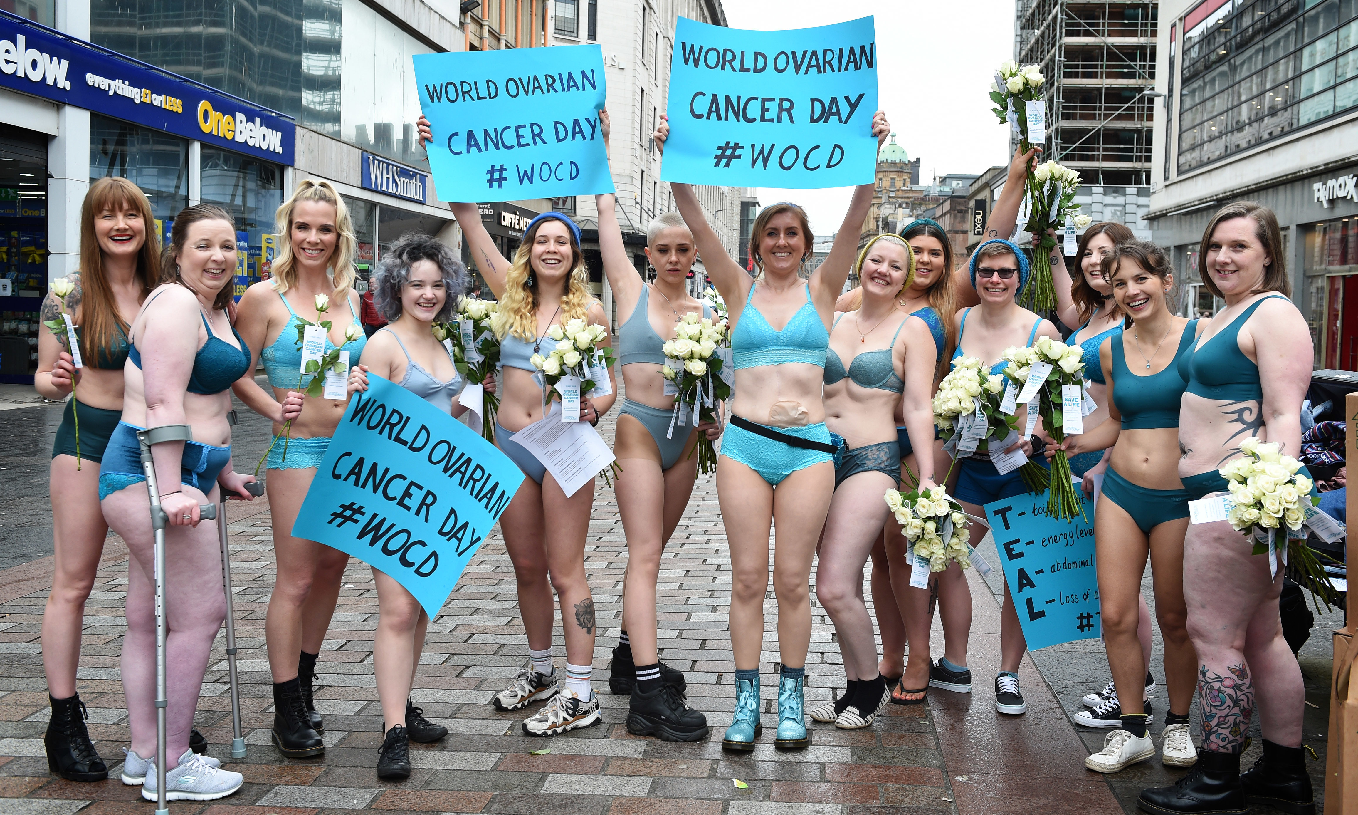 Award winning blogger and author Fi Munro (7th from left)  was joined by her friends, all in teal underwear, to raise awareness of ovarian cancer.
