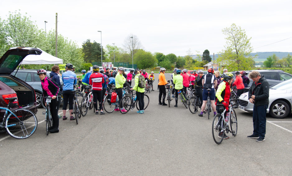 Roughly 400 female cyclist set off from Larghan Victory Park, Coupar Angus for the Belles and Buns road cycling event.