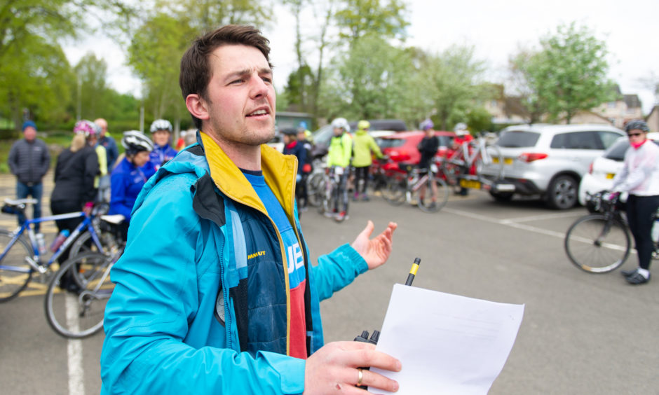 Cycle Development Officer, Grant Murdoch addresses the participants before the start of the event.