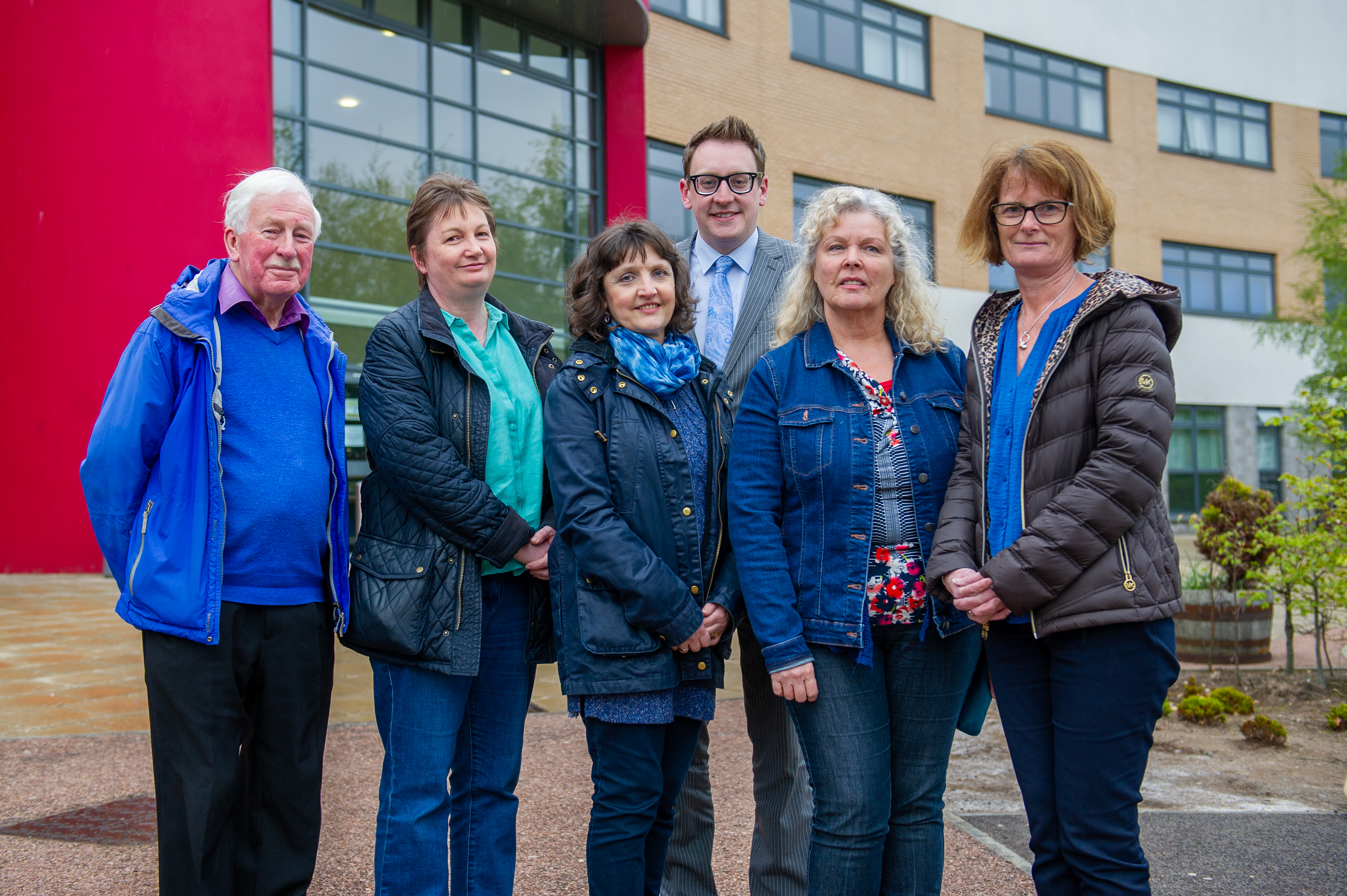 The Friends of Grove Academy who discussed the unveiling ceremony - l to r -  John Hamilton, Karen O'Rourke, Elaine McKeown, John Anderson (Principal Teacher of History), Pamela Stewart and Julie Lynch