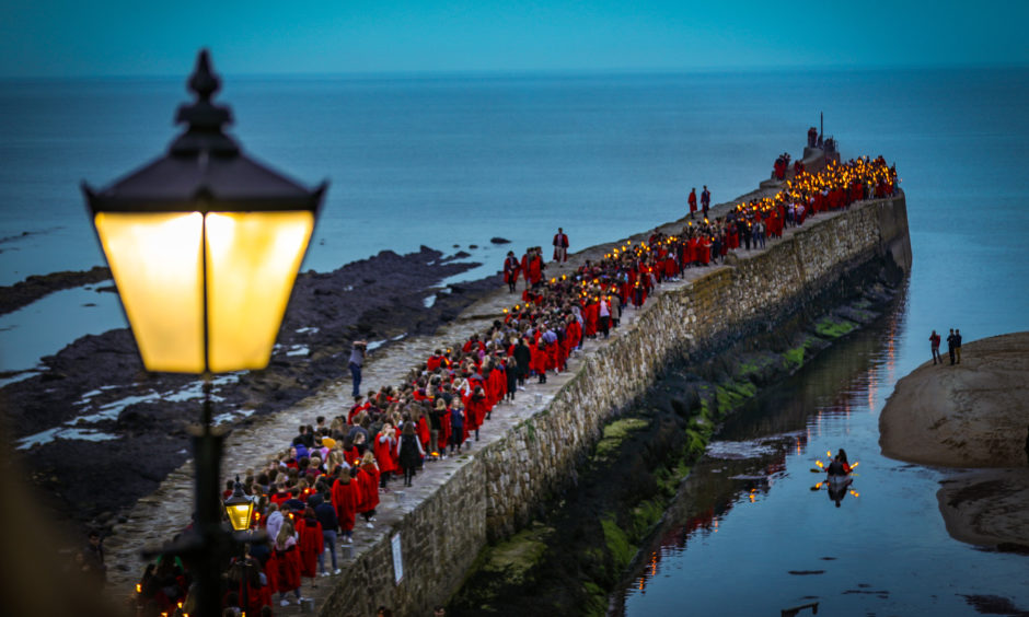 The annual Gaudie pier walk takes place in St Andrews.