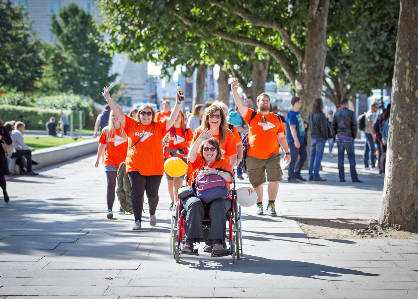 MS Society members walking for an event.
