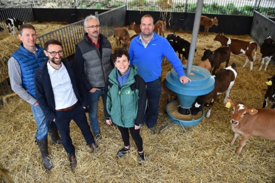 Graham Armstrong, David Michie, Rory Christie, Rural Affairs Minister Mairi Gougeon and Charlie Russell at Dourie Farm