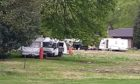 Caravans at the Murray Royal hospital site in Perth